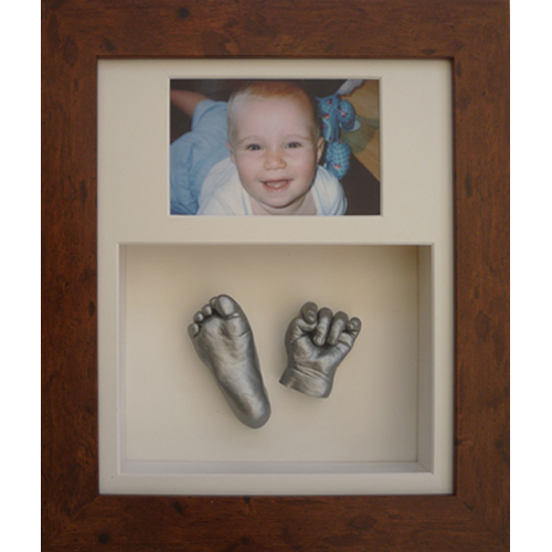 Deep 12x10 Double Rustic Brown frame with silver casts of an 8 month old baby