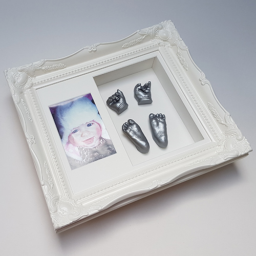 Silver casts of a 6 week old in a Luxury Vintage 12x10 double frame with photo