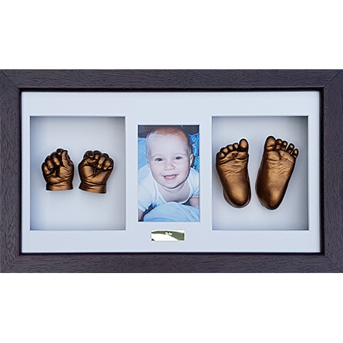 Luxury Hardwood 18x10 Triple Chocolate frame with White mounts and Gold casts of a 15 month old
