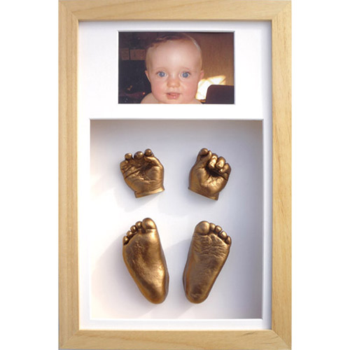 Classic 16x10 Double Natural frame with gold hand a foot casts of a 15 month old