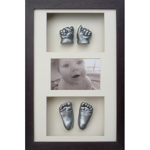 Classic 16x10 Triple Chocolate frame with silver hand a foot casts of a 4 month old