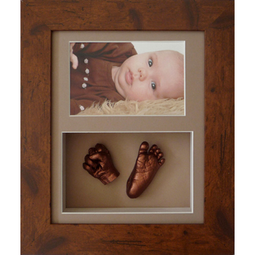 Deep 10x8 Double Rustic Brown frame with bronze casts of a newborn