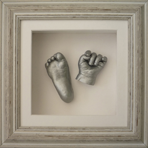 Deep 8x8 Square Distressed Waterfall frame with silver casts of a 9 month old