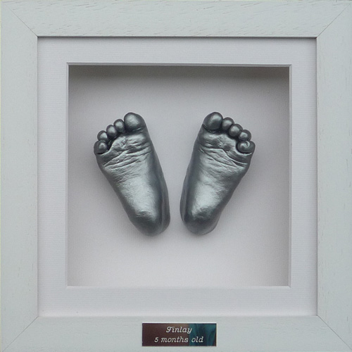 Classic 8x8 Square White frame with silver foot casts of a 9 month old