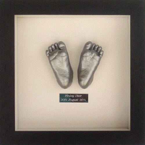 Contemporary 8x8 Square Black frame with a silver foot casts of a 6 week old