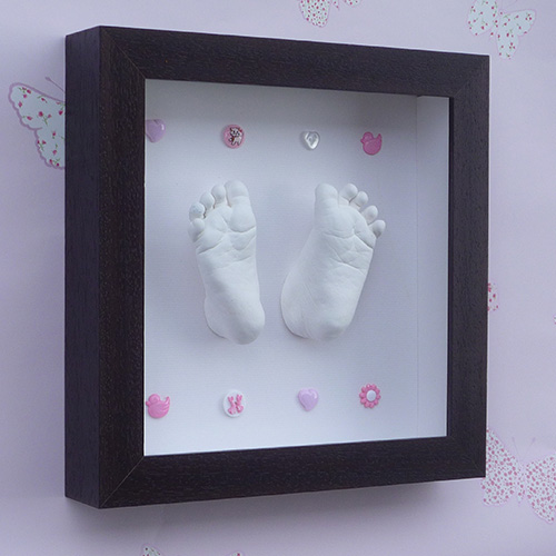 Contemporary 8x8 Square Black button frame with white casts of a 5 month old with button embellishments