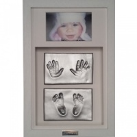 OPT35 - Classic 16x10'' Double Frame - 4 Clay Impressions - Hands And Feet