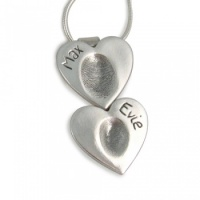 Double Heart Pendant Fingerprint Necklace
