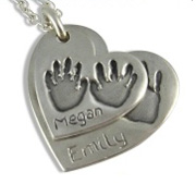 2 Descending Classic Footprint Charms Necklace - Small & Medium