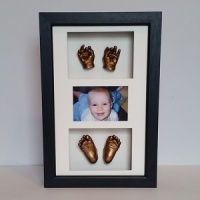 Luxury Hardwood 16x10'' Triple Photo Frame Baby Casting Kit
