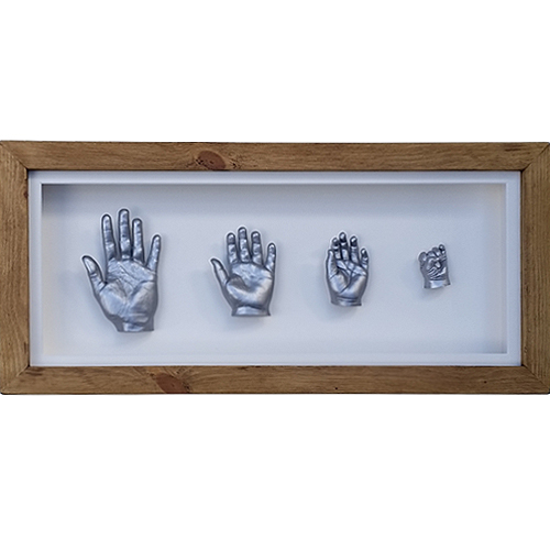 Deep 26x11 sibling frame with silver casts of a 12, 7 & 4 year old and a 6 month old