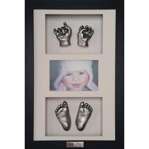 Classic 16 x10 Black frame with slver casts of a newborn