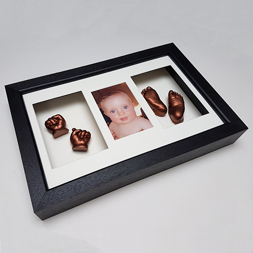 Luxury Hardwood 16x10 Triple Black frame with Cream mounts and Bronze casts of a 10 week old
