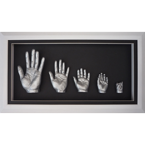 Deep 26x13 White Family frame with silver casts of Dad, Mum and 3 children aged 5, 2 and 6 months
