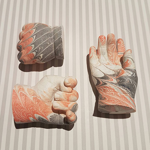 Dinky hand casts with peach and grey marble effect