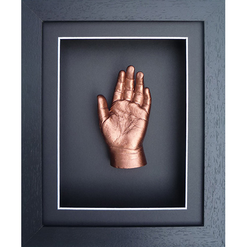 Classic 10x8 Single Black frame with a bronze hand cast of a 3 year old