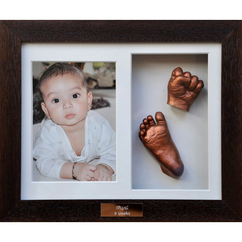 Classic 10x8 Double Chocolate frame with bronze casts of a 6 month old