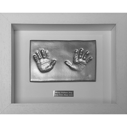 Silver painted hand impressions in a Contemporary 10x8 white frame