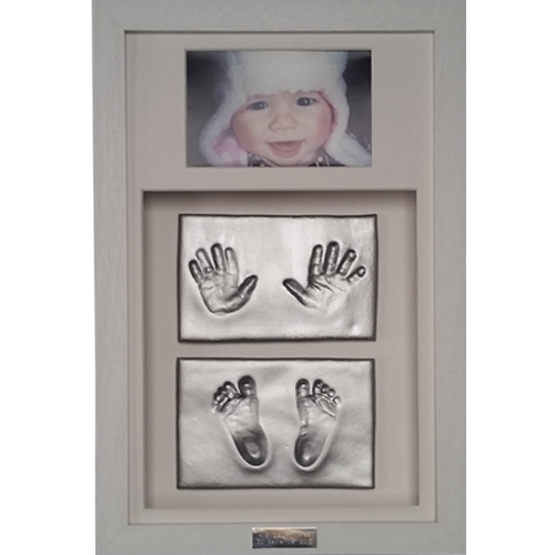 Double clay impressions in a Classic 16x10 Double white frame