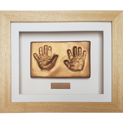 Classic 10x8 Single Natural frame with gold clay impressions