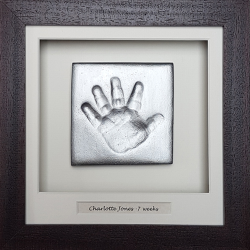 Silver clay handprint in Classic square chocolate frame with name space