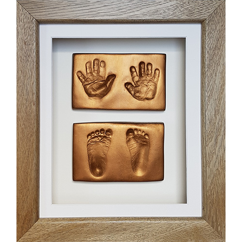 Luxury Hardwood 12x10 Single frame with gold clay impressions