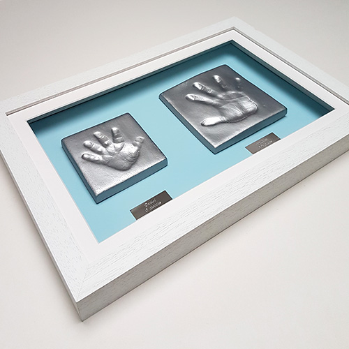 Classic 16x10 Single White frame with sibling clay hand impressions