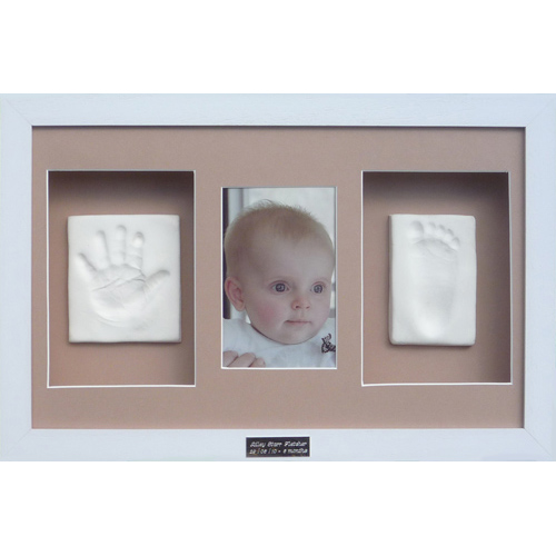 Clay impressions in Classic 16x10 triple white frame with coffee mounts