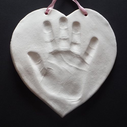 Heart clay handprint
