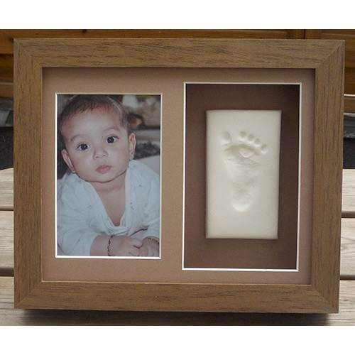 Clay footprint in Classic 10x8 double oak frame with photo