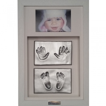OPT35 - Classic 16x10'' Double Frame - 4 Clay Impressions - Hands And Feet - About £115