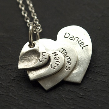 4 Descending Classic Heart Charms Fingerprint Necklace