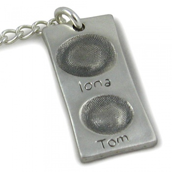 Double-sided Rectangular Chunky Charm Fingerprint Keyring