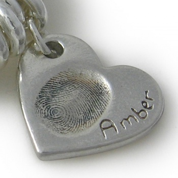 Double-sided Chunky Bracelet Fingerprint Charm
