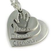 3 Descending Classic Footprint Charms Necklace