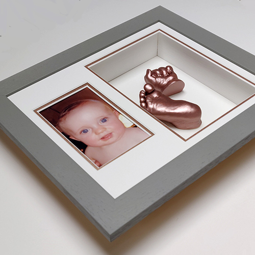 Deep Grey 12x10 frame with Rose Gold casts and under mount.