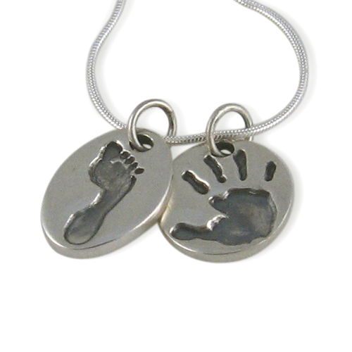necklace footprint mothers pendant baby monogram clover categories carolina gold print jewelry foot