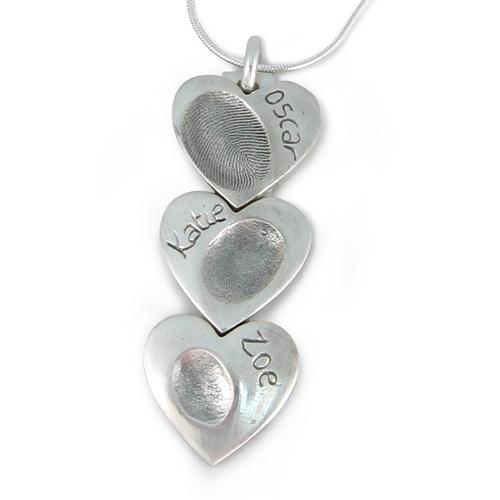 Triple heart pendant fingerprint necklace everlasting castings triple heart pendant fingerprint necklace aloadofball Images