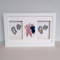 OPT24 - Twins 16x10'' Triple Photo Frame - 1 Hand & 1 Foot Each - About £180-£250