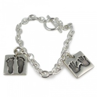 Single Chunky Footprint Charm Bracelet
