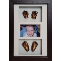 Luxury Hardwood 16x10'' Triple Photo Frame 8 Cast Baby Casting Kit